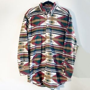 Vintage Woolrich Aztec Tribal Print Button-Up Top